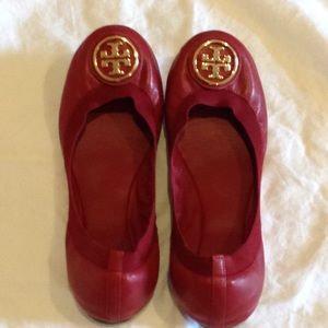 Tory Burch Red Flats with Dust Bag
